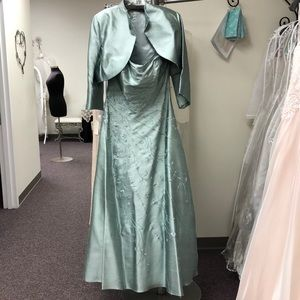 Montage aqua embroidered A-line gown with bolero